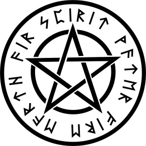 Sticker wicca white pentagram #S89